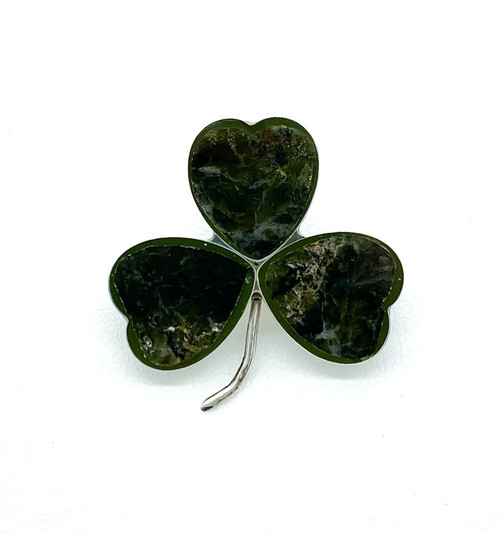 Antique Victorian Sterling Connemara Marble Four Leaf Clover Shamrock Pin Brooch