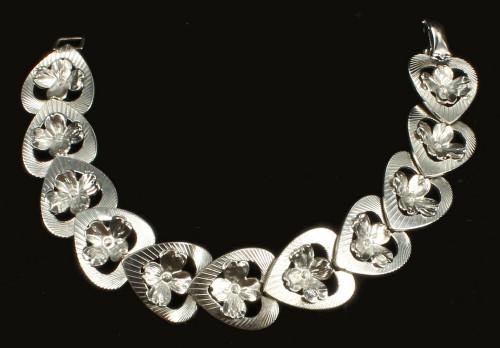Vintage Sterling Bracelet Art Deco Style 1940's Harry S. Bick (HSB) Floral 7