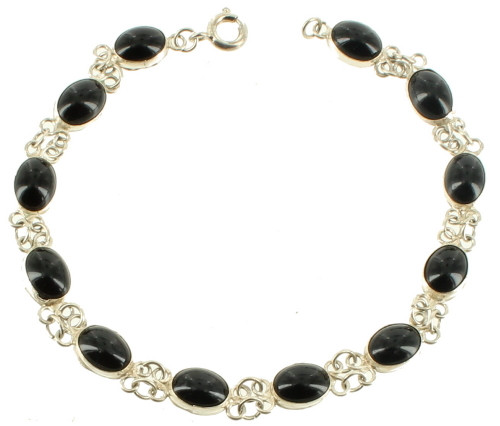 """Vintage 900 Silver Oval Link Jet Glass Hand Made Bracelet 7"""""""