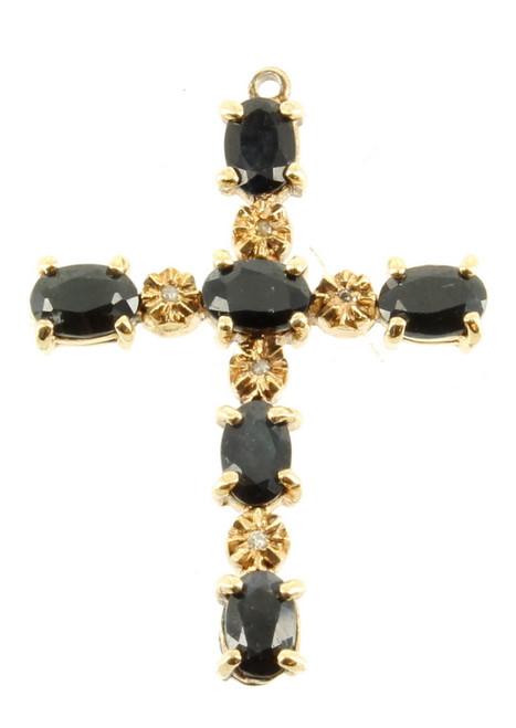 "Vintage Sterling Gold Cross 3 cts Blue Sapphire & Five 1 Pt Diamonds 1.5"" H"