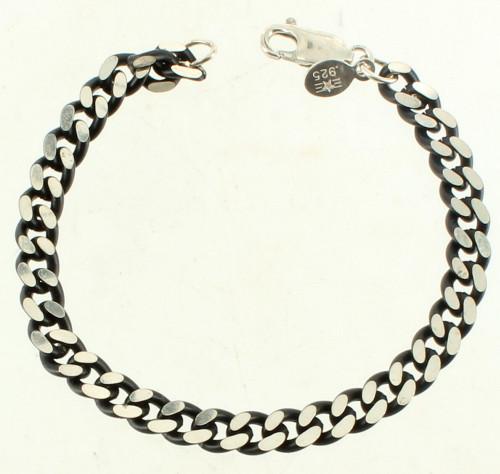 Vintage Sterling Heavy Flat Curb Link 2 Tone Black Silver Chain 1960s Bracelet 7