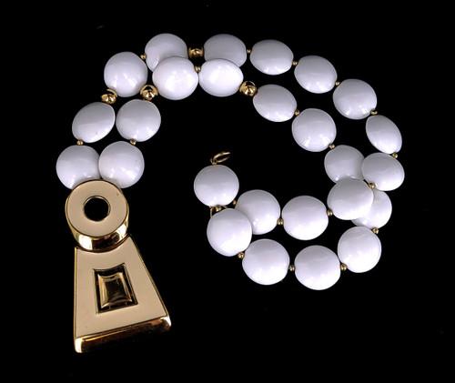 """Vintage Trifari Kunio Matsumoto Gold Tone Elegant White Enamel Beaded Necklace 25"""""""