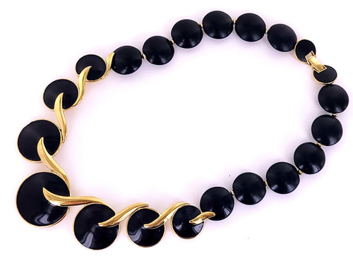 "Vintage Trifari Gold Tone Elegant Black Enamel Disc Beaded Necklace 18"""