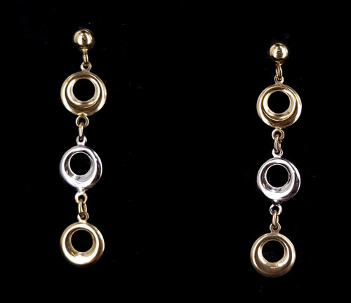 """Vintage 10k Yellow White Gold Mid Century Round Link Drop Dangle Earrings 1.5"""""""