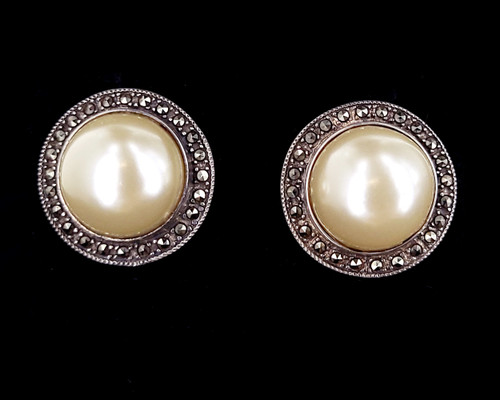 """Vintage Sterling Silver Faux Pearl Marcasite Mid Century Post Back Earrings 1"""""""