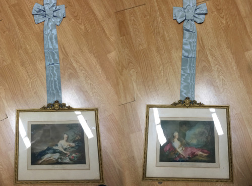 Antique Nattier Gravure Print Braun&Cie Henriette/Adelaide De France Ribbons Pr.
