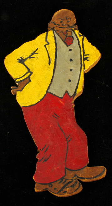 Antique 1920's Comic Cartoon Jiggs Folk Art Painted Wood Character Toy Figure