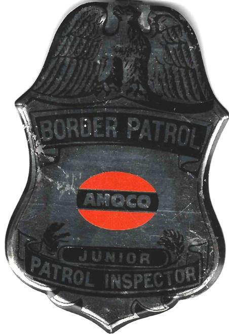 Antique Advertising Amoco Toy Badge Gas Border Patrol Junior Inspector Metal