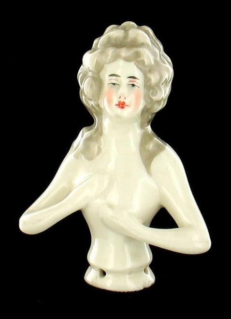 Austrian Art Deco Vintage Half Doll Pin Cushion Lady Flapper Porcelain Figurine