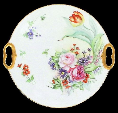 Antique T & V Limoges France Floral Plate HpPGilt Handled & Signed Kohler