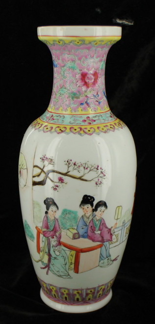 Antique Chinese Famille Rose Poetry Vase Zhonguo Jingdezhen Zhi Floral 12+""