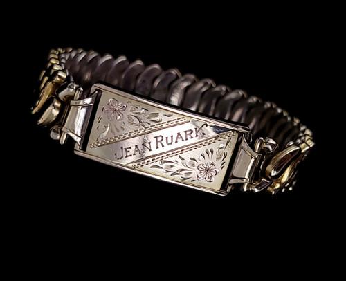 Antique GF Gold Filled Floral Engraved Expansion Stretch Bracelet Adjustable