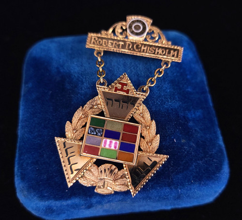 "Antique 14k Gold Royal Arch Master High Priest York Rite Masonic Medal Pin 2"""