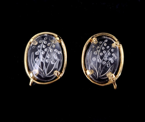 Vintage Mid Century Napier Gold Plated Etched Glass Floral Screw Back Clip Earrings