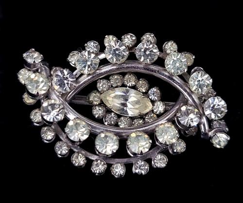 "Vintage Art Deco Silver Clear Paste Rhinestone Evil Eye Brooch Pin 2"""