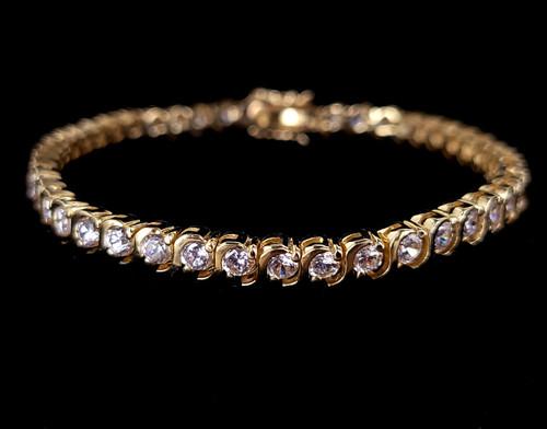"""Vintage Gold Over Sterling Silver Faceted Rock Quartz Gemstone Tennis Bracelet 7"""""""