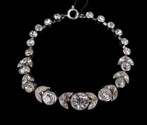 "Antique Art Deco Silver Plated Clear Paste Rhinestone Floral Flower Bracelet 7"""