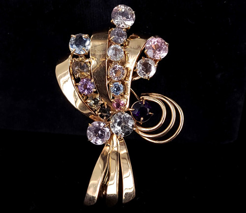 Vintage 18k Gold Aquamarine Beryl Tourmaline Ribbon Bouquet Brooch Pin Pendant