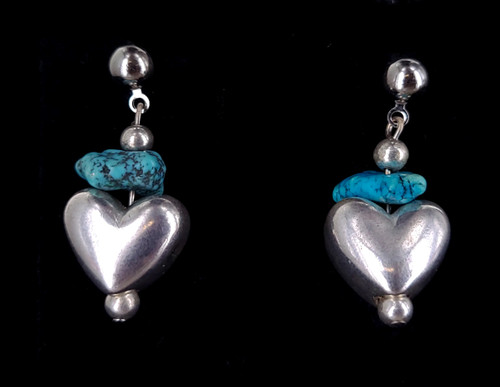 """Vintage Sterling Silver Turquoise Nugget Puffy Heart Drop Dangle Earrings 1.5"""""""