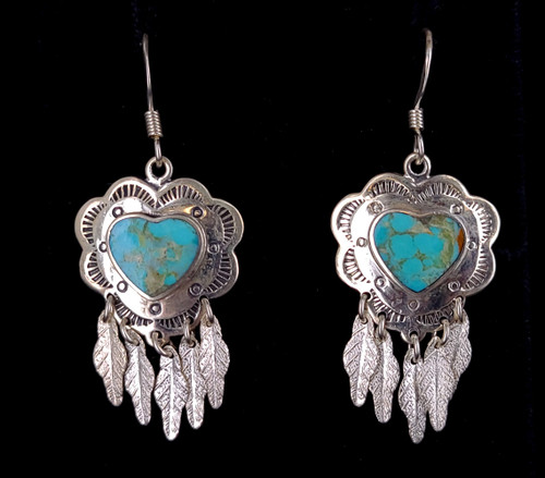 """Vintage Sterling Silver Turquoise Heart Southwestern Drop Dangle Earrings 2"""""""