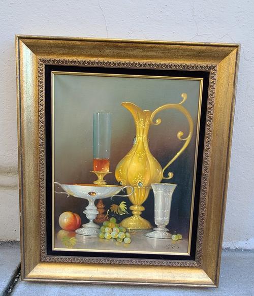 Vintage MCM Jozsef Molnar Dutch Baroque Style Oil Painting Still Life w Gilt Urn