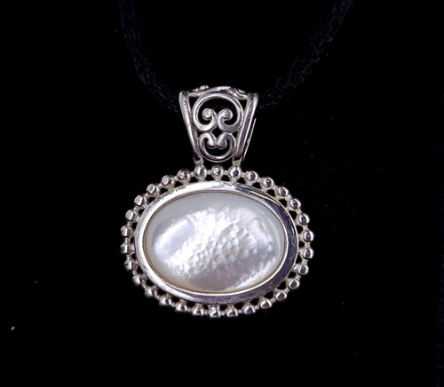"""Vintage Sterling Silver Mother of Pearl MOP Pendant w Black Cord Necklace 17-19"""""""