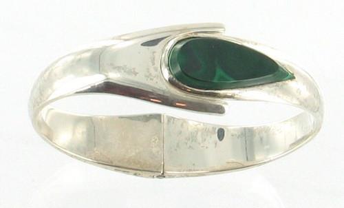 "Vintage Sterling Malachite Mexico Clamper Cuff Bangle Bracelet Pear Shape  7.5"""