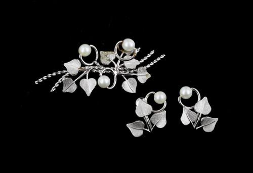 VTG Van Dell Sterling Silver 50s Ivy Leaves Pearls Brooch Screwback Earrings Set
