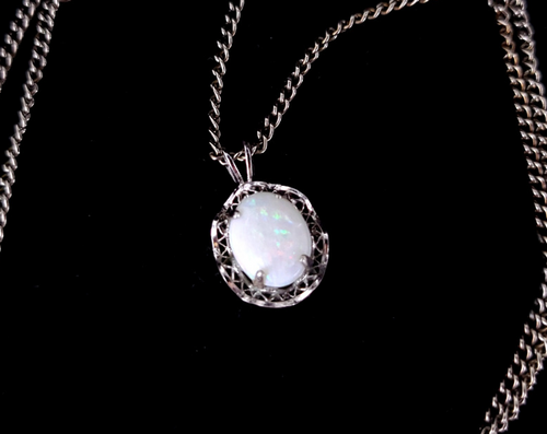 """Vintage Sterling Silver Filigree Australian Opal Red Green Flashes Necklace 18"""""""