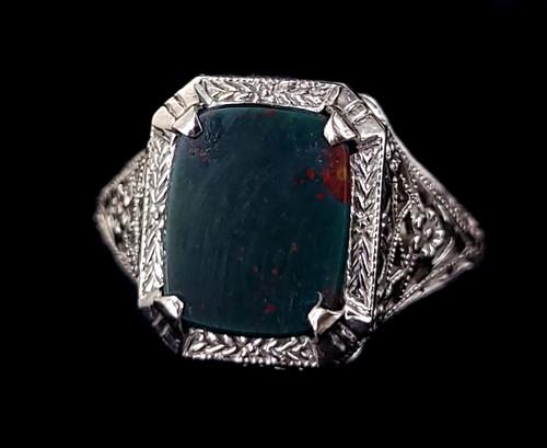 Antique Deco 14k White Gold Filigree Bloodstone Signet Stunning ring size 7.25
