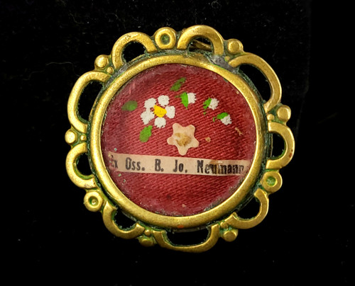 Antique Brass Genuine St John Neumann Relic Ex Oss B Jo Neumann Pendant Charm