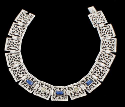 """Antique Sterling Deco Paste Blue & Crystals Filigree Box Link Bracelet 6 7/8"""""""