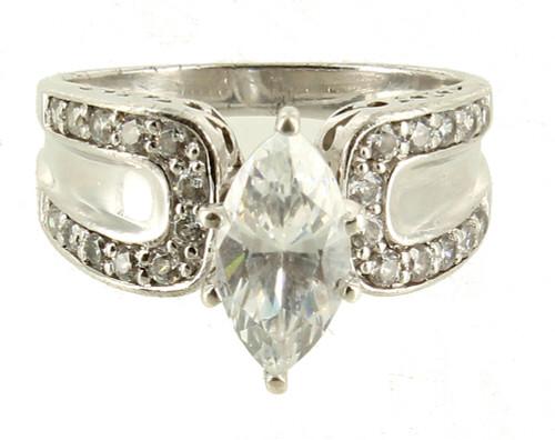 Vintage Sterling Disco 70's Marquise Cubic Zirconium CZ Engagement Ring  8.5