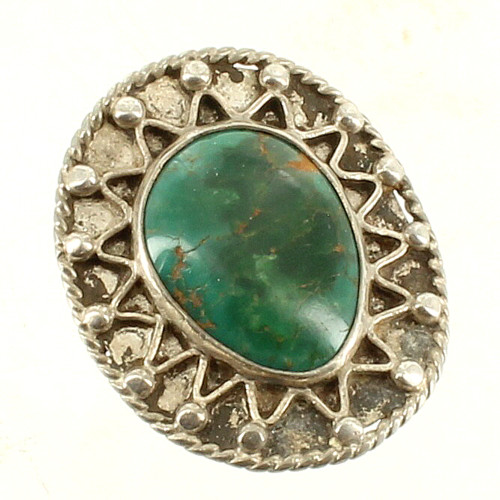 Vintage Old Pawn Navajo Silver Green Varicite Turquoise Big Ring Sz 8 Beautiful!
