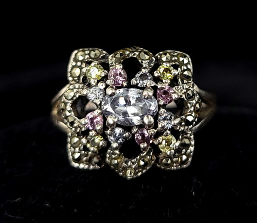 Vintage Sterling Silver Pastel Cubic Zirconia CZ Marcasite Floral Ring Size 8.5