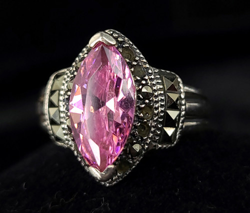Vintage Sterling Silver Pink Cubic Zirconia CZ Marcasite Statement Ring Size 8