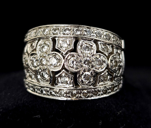 Vintage Sterling Silver Sparkling Cubic Zirconia CZ Thick Band Ring Size 9