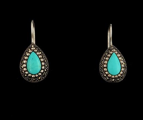 "Vintage Sterling Silver Teardrop Turquoise Drop Dangle Shepherds Hook Earrings 1"""