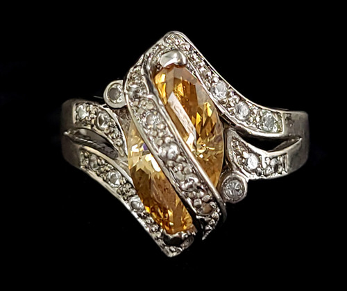 Vintage Sterling Silver Orange Clear Cubic Zirconia CZ Statement Ring Size 8