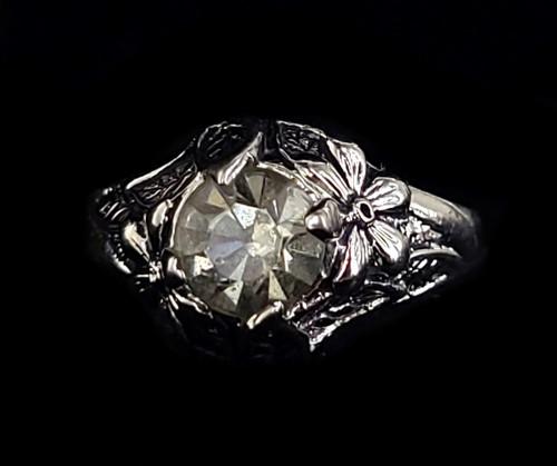 Vintage 14k White Gold Electroplate Floral Gray Paste Rhinestone Ring Size 8