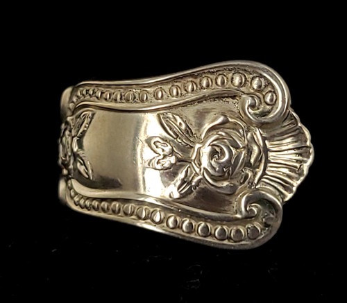 Vintage Mid Century Sterling Silver Recycled Spoon Floral Silverwork Ring Size 8