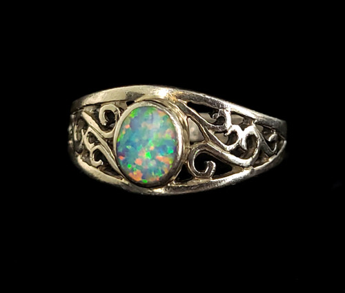 Vintage Sterling Silver Simulated Blue Fire Opal Scroll Design Ring Sz 9 Gorgeous!