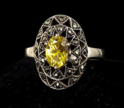 Vintage Art Deco Sterling Silver Yellow Quartz Marcasite Statement Ring Size 8