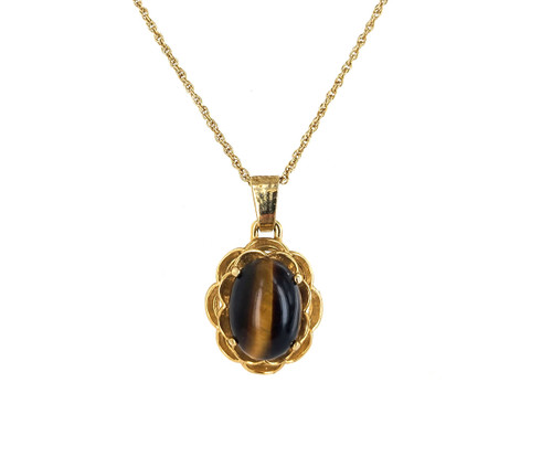 """Vintage Mid Century Gold Plated Tigers Eye Gemstone Pendant Necklace 20-22.5"""""""