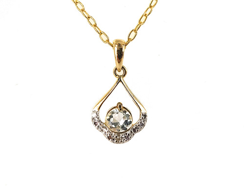 "Vintage Gold Over Silver Genuine Diamond Topaz Gemstone Pendant Necklace 17.5"""