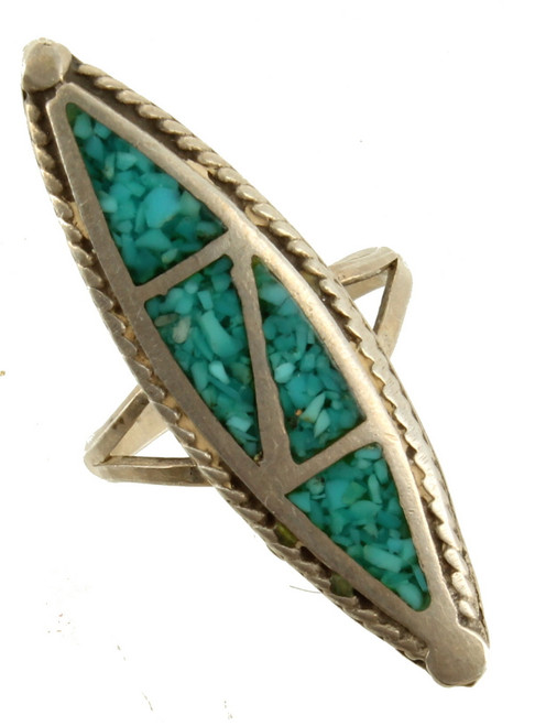 Navajo Sterling Robert Gene Inlaid Mosaic Turquoise Tall Marquise Ring Size 4.5