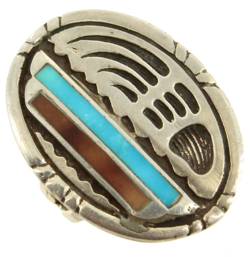 Old Pawn Navajo Sterling Inlaid Turquoise Shell Oval Engraved Ring Sz 6.25