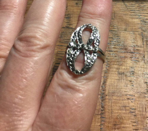 Antique Deco Sterling Marcasite Figure 8 Unusual Open Work Bow Ring Size 7.25