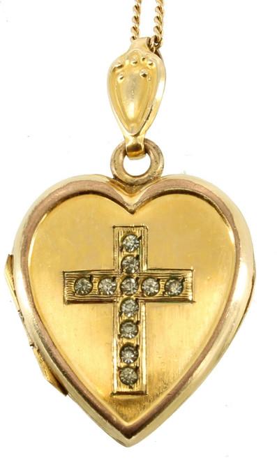 "Antique Deco 12K GF Gold Filled Paste Crystal Cross Heart Locket Necklace 19"""