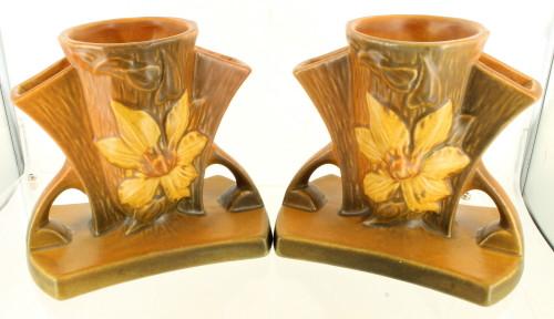 Vintage Roseville Art Pottery Pair Clematis Fan Vase 192‒5
